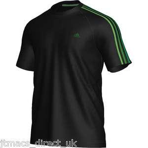 Adidas Mens Black ClimaLite Cotton Crew Neck Tee T Shirt Top New