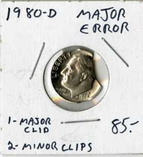US Coin 1980D Roosevelt 10c Errors Clipped Planchet