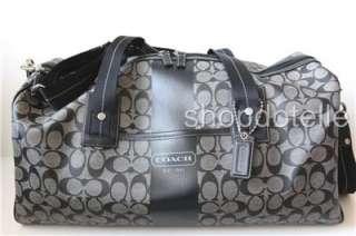 NEW COACH HERITAGE STRIPE DUFFLE Travel Bag F77278 BLACK WHITE 77278