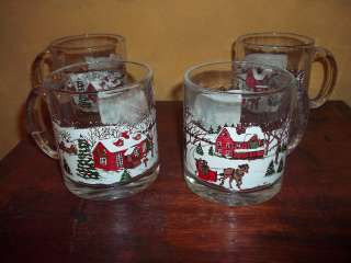 Arby Arbys Christmas Winter Scenes 4 Coffee Cocoa Mugs Cups Glasses