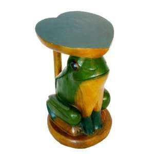 Handmade Furniture 20 Inch Carved Round Wood End Table, Frog and Heart