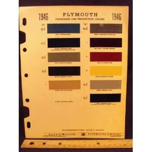 1946 PLYMOUTH Paint Colors Chip Page Chrysler Cororation