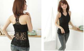 Womens Sexy Shirt Top Hollow out Vest Camisole Pierced Lace