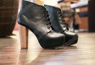 Fashion Womens Platform Round Toe High Heels Shoes Ankle Boots 2
