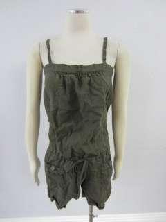 Joie Anthropologie Womens Dark Olive Green Drawstring Waist Linen