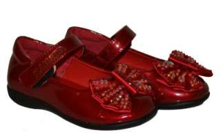 GIRLS MARY JANE RED PINK BLACK WITH BOW NEW STYLE   PARTY SHOES
