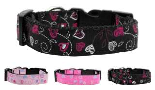 Nylon Dog Pet Puppy Crazy Heart Ribbon Valentines Pink Black Collar