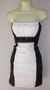 BCBG Black/White Strapless Crinkle Cocktail Dress 4