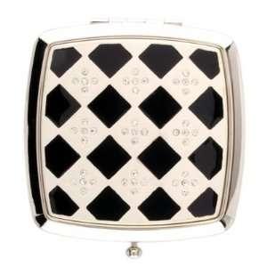 Checkered w/Rhinestones Square Compact Mirror Model No. S4758SIL