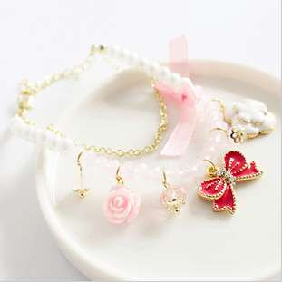 Fashion Cute Crystal Rose Bow Pink Flower Pearl Strand Charm Bracelet