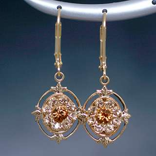 Swarovski Gold Topaz Crystal Drop Leverback Earrings