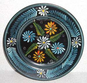 Hand Painted Pottery Flower Design Plate   Cuenca, ECUADOR