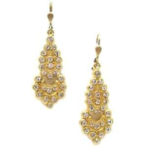 Catherine Popesco 14K Gold Plated Dangle Earrings with Clear Swarovski