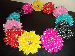 WHolesale lot 12 POLKA DOT gerber DAISY flower CRAFT bridal TUTU hair