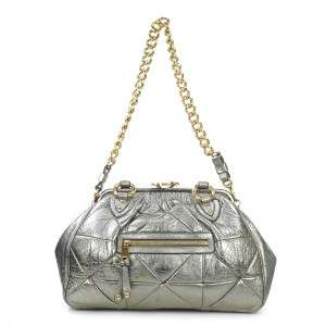 AUTHENTIC MARC JACOBS METALLIC SILVER LEATHER PATCHWORK STAM SATCHEL