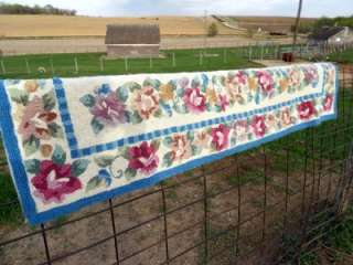 Hand Hooked Wool Rug Long hallway runner size Blue and Pinks 70x22