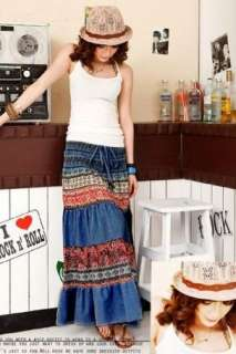 FREE SHIPPING Quality Stunning Bohemian Japan Blue Skirt / Dress M1598