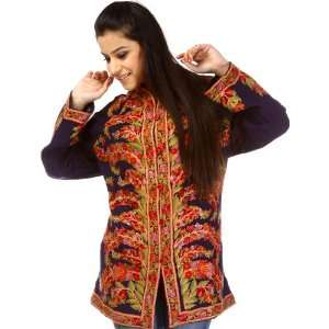 Densely Hand Embroidered Navy Blue Jacket from Kashmir