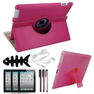 Skque Cute Hot Pink 360 Degrees Rotating Leather Case + Clear Screen