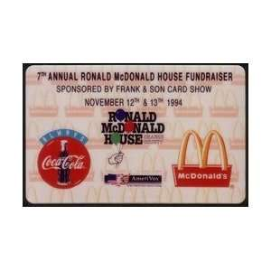 Coca Cola Collectible Phone Card 1994 Ronald McDonald House & Coke