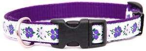 Purple Flowers Designer Ribbon Dog Collar