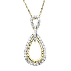 Yellow Gold Diamond Framed Tear Drop Pendant Necklace, 18 Jewelry