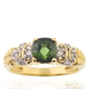 Michael Valitutti 18K Yellow Gold Green Tourmaline & Diamond Ring   SZ