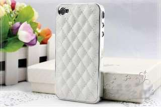 Plating Soft Leather Hard Cover Case for iPhone 4 4G 4S White Silver