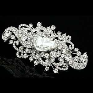 Clear Rhinestone Crystal Flower Ribbons Bridal Wedding Tiara Veil Side