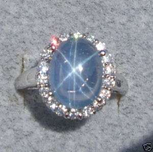 TRANSPARENT BLUE STAR SAPPHIRE CREATED CLUSTER RING RHOD PLATED .925