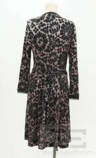 DVF Diane Von Furstenberg Pink & Black Lace Print Silk Wrap Dress Size