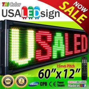 Digital LED Sign 3 Color Moving Message Display 60X12