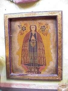 Painted Old Door  Canvas  Retablo #6 Mexican Folk Art