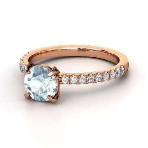 Candace Ring, Round Aquamarine 14K Rose Gold Ring with