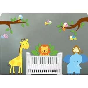 vinyl wall decal Elephant Giraffe Monkey Lion Birds with 2 tree