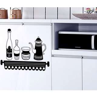 KITCHEN Cruets Adhesive Removable Wall Decor Accents GRAPHIC Stickers