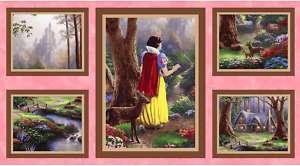 Kinkade Disney Dream Fabric Panel Snow White Pink