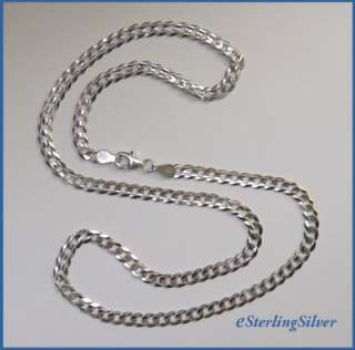 925 Sterling Silver Italian Curb Chain / Necklace   18, 9.5 Grams, 4
