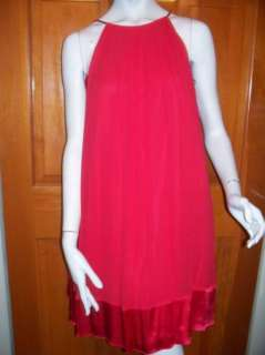Maggy London Nwt RED Halter Silk Satin Trapeze Dress 8
