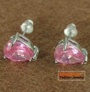 Oval Cut Pink Sapphire 14K GP Stud Earrings Xmas Gift