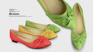 Hot Sale fashion Red Green Apricot Womens Shoes Pointy Toe Flat Pumps
