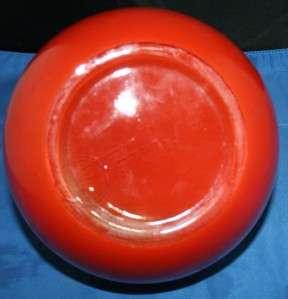 Vtg Fire King Red Orange Ball Pitcher Eames Era