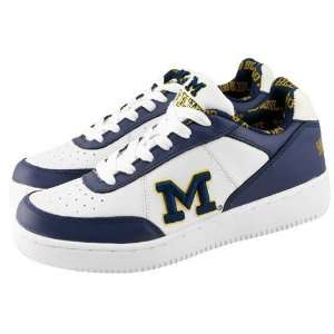 Michigan Wolverines White Navy Blue Team Logo Shoes