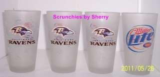 Baltimore Ravens Miller Lite Beer Drink Glasses NFL
