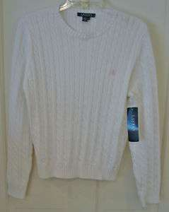RALPH LAUREN LADIES WHITE CABLE KNIT SWEATER SMALL NWT