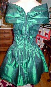 80S Party Prom Flouncy Dress Emerald Green w/ Black Sequin Embroidery