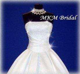 Neckline Sparkling Crystals White Wedding Dress/Gown   Simply Stunning