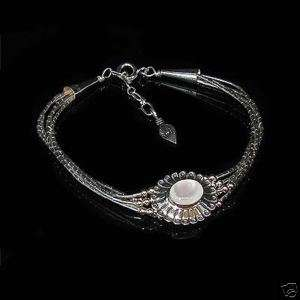 Liquid Sterling Silver White Mother Pearl Bracelet