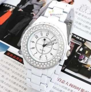 Ladies Luxury Quartz Crystal Fashion Wrist Watch White