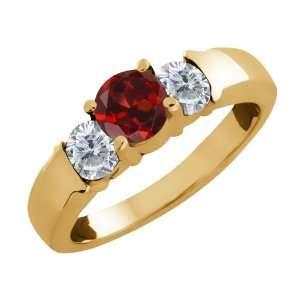 1.10 Ct Round Red Garnet and White Diamond 14k Yellow Gold